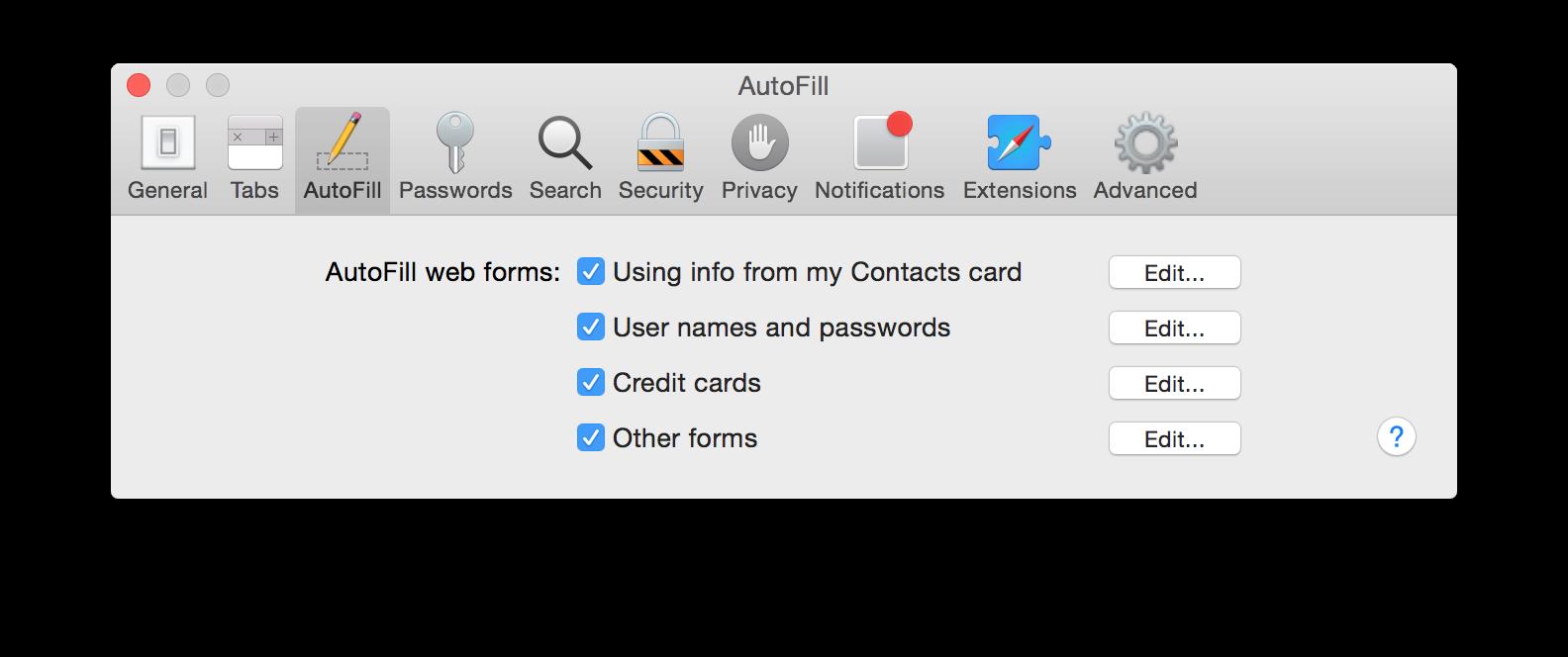 AutoFill web forms